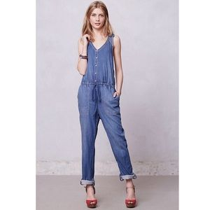Holding Horses Eyelet Chambray Overalls Jumpsuit